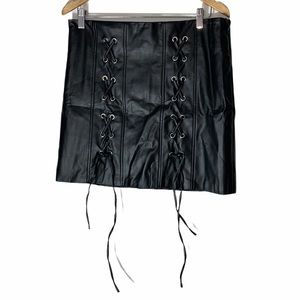 Shinestar black faux leather mini skirt XL New